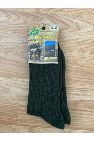 Frenchauthentic Nos - Vintage Mens Wool Ribbed Knit Long Boot Socks Chaussettes De Chasse /Pêche | Euro 39-42
