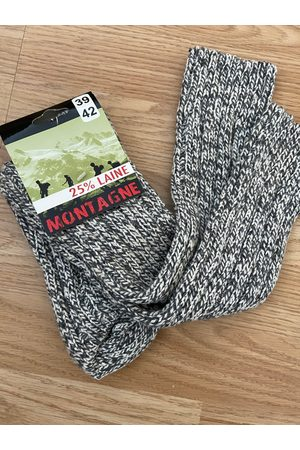 Frenchauthentic Nos - Vintage Unisex Grey & Cream Chunky Knit Wool Over Knee Long Boot Socks Ski/Randonnée Rambling S'adapte | Taille 39-42