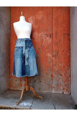 DLFine Jupe Mi-Longue Patchwork Blue Jeans En Jeans Recyclés, Jupe Denim Taille 36, Jeans, Mi-Longue, Recyclage, Upcycling