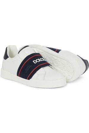 Dolce & Gabbana Baskets en cuir avec bride à logo