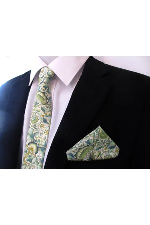 Liberty59 Liberty Of London Floral Necktie ~ Made in Lodden Green Colorway Cravate Pour Hommes Cravate