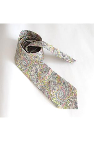 Liberty59 Homme Cravates - Liberty Of London Men's Necktie Made in Pink & Grey Paisley Liberty Print Fabric - Cravate Florale/Homme