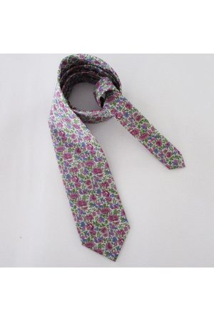 Liberty59 Liberty Of London Floral Necktie ~ Made in Purple & Blue Colorway Cravate Pour Hommes Cravate