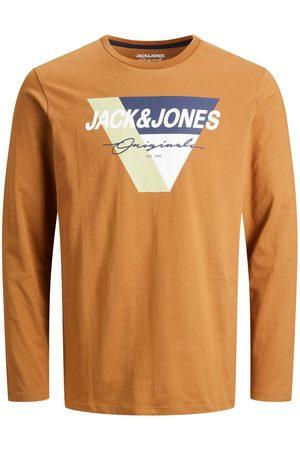 JACK & JONES Logo Imprimé T-shirt À Manches Longues Men brown