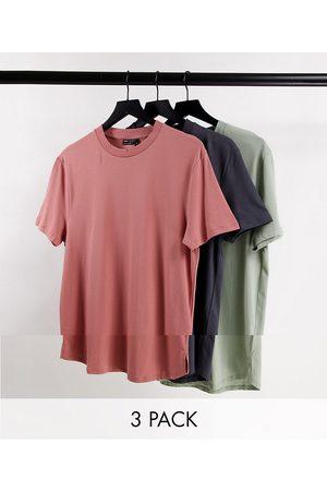 ASOS Lot de 3 t-shirts longs à fentes latérales en coton biologique