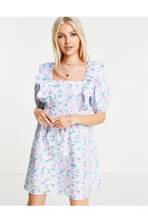 Miss Selfridge Robe babydoll à volants et imprimé fleuri - Lilas