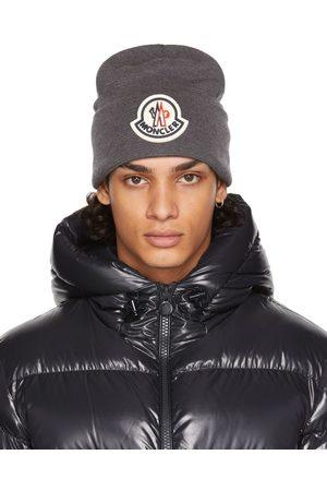 Moncler Homme Bonnets - Bonnet gris en laine à logo