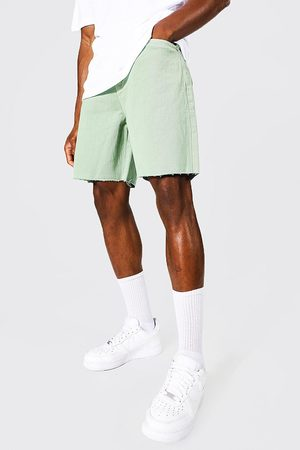 Boohoo Homme Shorts - Relaxed Fit Washed Frayed Hem Denim Short Homme