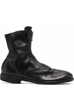 GUIDI Leather zip-front ankle boots