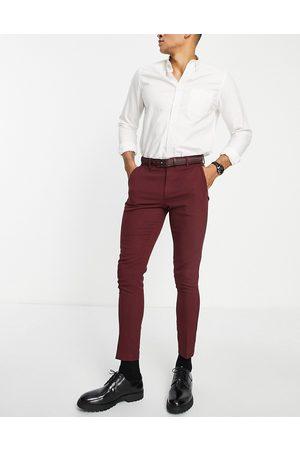 ASOS Homme Costumes - Pantalon de costume de mariage super ajusté en tissu micro-texturé - Bordeaux