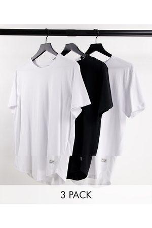 JACK & JONES Originals - Lot de 3 t-shirts longs à ourlet arrondi - Blanc/blanc/noir