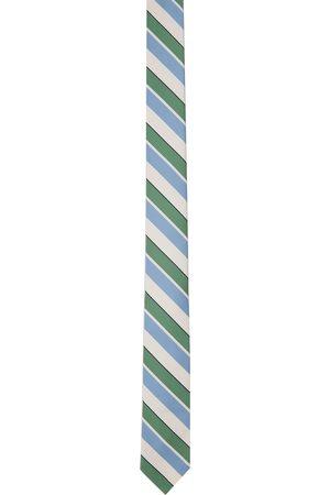 Thom Browne Cravate Bold Rep blanc cassé et bleue à rayures