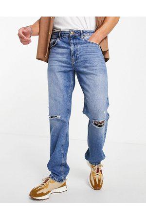 ASOS Jean droit déchiré aux genoux - Délavage vintage moyen