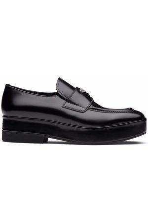 Prada Homme Mocassins - Logo-plaque square-toe loafers