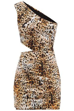 HALPERN Femme Robes asymétriques - Robe courte asymétrique en jersey imprimé léopard
