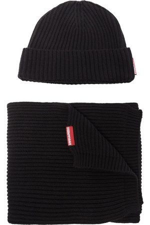 Dsquared2 DSQ2 HAT AND SCARF SET BLACK