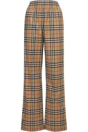 BURBERRY Pantalon En Coton Stretch À Carreaux Louane