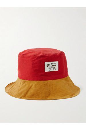 BODE Appliquéd Colour-Block Cotton-Blend Faille Bucket Hat