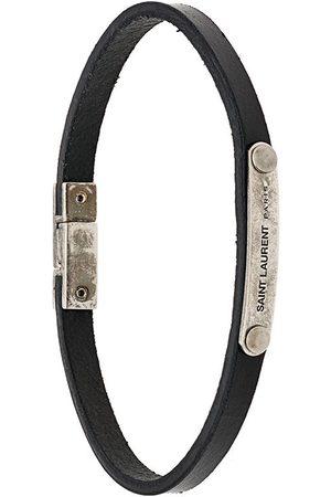 Saint Laurent Bracelet en cuir à plaque logo