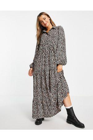ASOS Femme Robes imprimées - Robe chemise longue à nervures et imprimé léopard