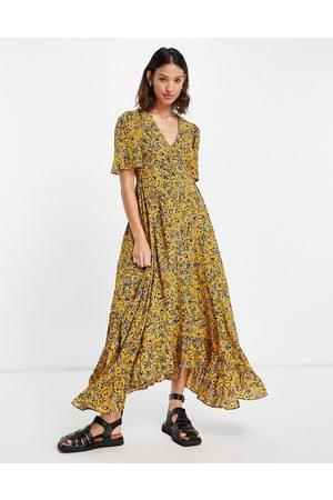 Topshop Robe longueur mollet pour occasion spéciale à imprimé petites fleurs - Moutarde