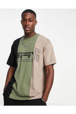 Good For Nothing T-shirt oversize fendu avec logo imprimé varié - Noir et kaki