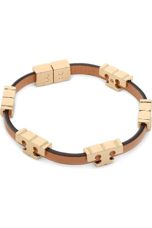 Tory Burch Bracelet - Serif-T Stackable Bracelet 80706 Tory Gold/Coconut/Vachetta
