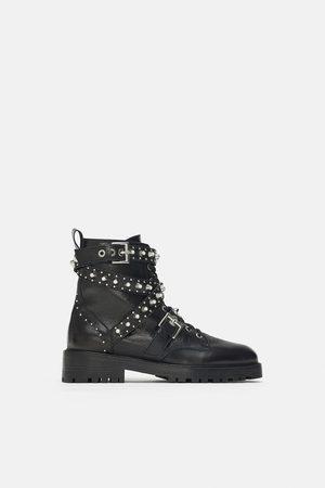 Zara Femme Bottines - Boots en cuir à bijoux
