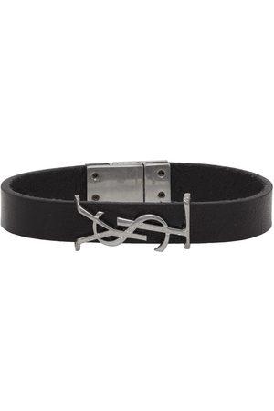 Saint Laurent Bracelet en cuir noir et argenté Opyum