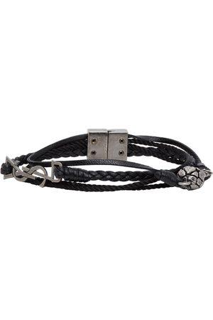 Saint Laurent Bracelet en cuir tressé noir Pineapple Monogram