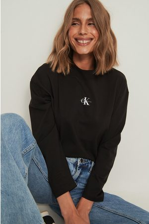 Calvin Klein Micro Monogram Loose LS Tee - Black