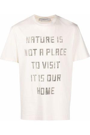 Golden Goose Homme Débardeurs - Slogan-print crew-neck T-shirt