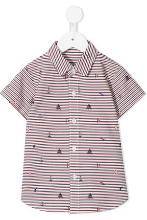 Familiar Striped embroidered-motif shirt