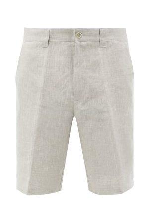 120% Lino Homme Shorts - 120% Lino - Short droit taille mi-haute en lin