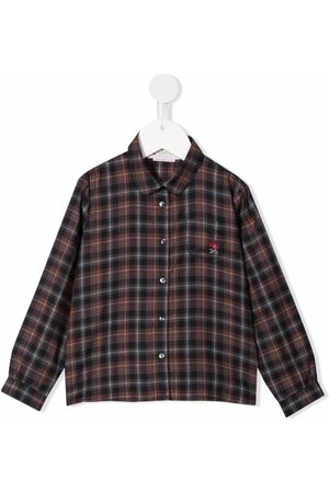 Bonpoint Embroidered-logo check-print shirt