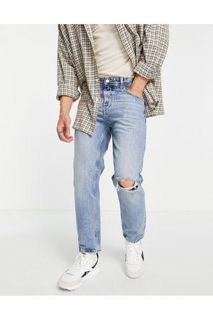 Pull&Bear Jean droit coupe vintage déchiré aux genoux style années 90 - clair