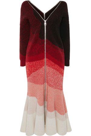 Alexander McQueen Robe Midi En Laine Nervurée Multicolore