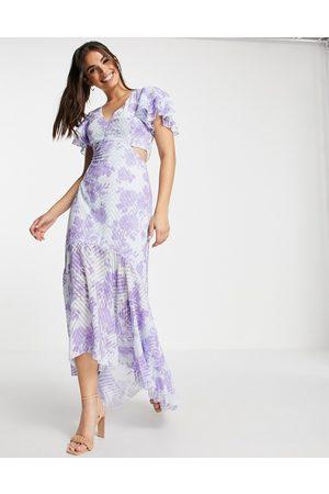 Lipsy Robe longue avec décolleté plongeant à découpes et imprimé floral - Violet