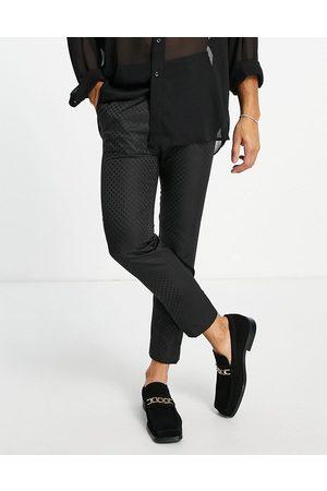 ASOS Pantalon de costume fuselé en satin avec motif jacquard ton sur ton