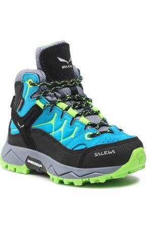 Salewa Chaussures de trekking - Jr Alp Trainer Mid Gtx GORE-TEX 8375 Blue Danube/Fluo Green