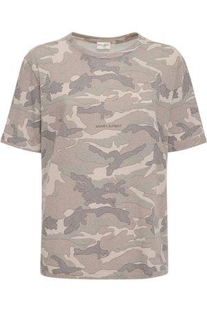 Saint Laurent T-shirt À Imprimé Camouflage À Col Rond