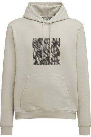 Saint Laurent Sweat-shirt En Coton Imprimé Illusion À Capuche