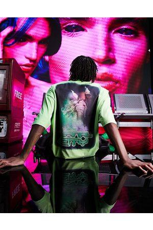 ASOS DESIGN T-shirt oversize à imprimé au dos - fluo