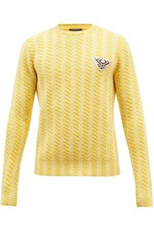Prada Homme Pulls - Pull oversize en laine à jacquard chevrons