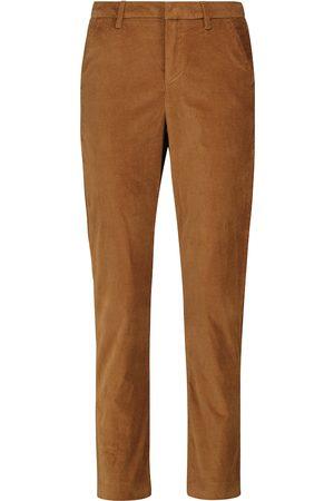 7 for all Mankind Femme Pantalons coupe droite - Pantalon à taille haute en velours