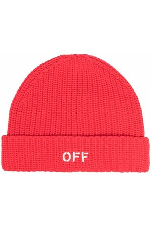 Off-White Kids Fille Bonnets - OFF STAMP BEANIE RED WHITE