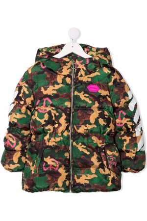 Off-White Kids OFF CAMO PINK PEACE PUFFER MILITARY FUCH