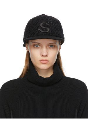 Sacai Femme Casquettes - Casquette noire en tweed à logo