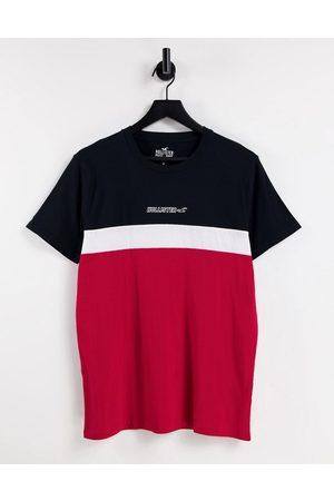Hollister T-shirt effet color block avec logo centré - Noir/blanc/rouge