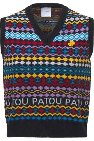 Patou Femme Vestes - Gilet En Jacquard De Laine Et Cachemire À Logo